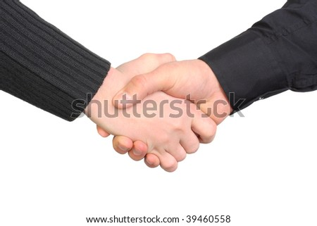 handshake close-up Isolated on the white
