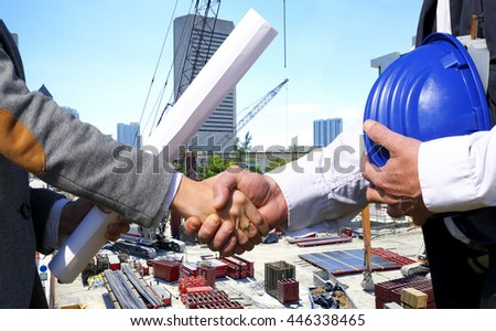 Handshake for housing project - stock photo