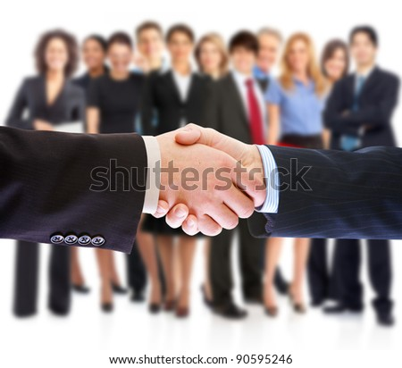 Handshake. Group of business people. Business team. Isolated over white background. - stock photo