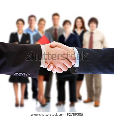 Handshake. Group of business people. Business team. Isolated over white background.