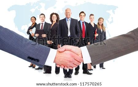 Handshake. Group of business people. Teamwork. - stock photo
