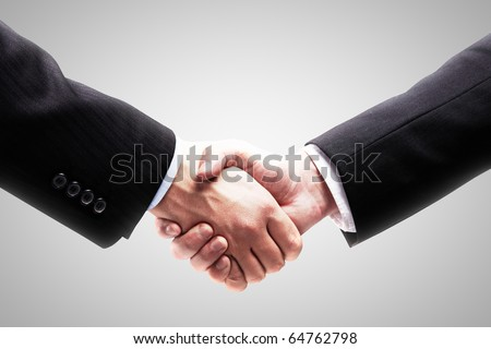 Handshake - Hand holding on white background - stock photo