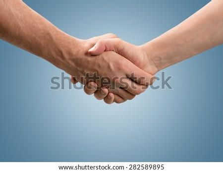 Handshake, hand, shake. - stock photo