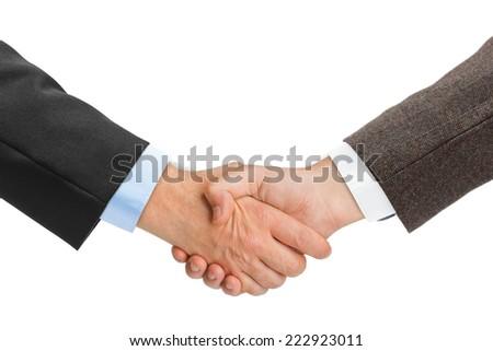 Handshake hands isolated on white background - stock photo