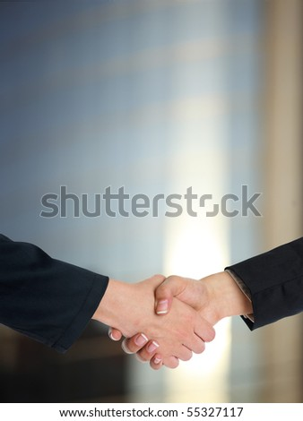 Handshake Handshaking and blured building in background - stock photo