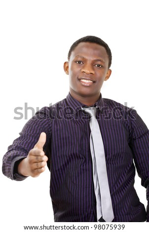 Handshake - handsome man of african descent - stock photo