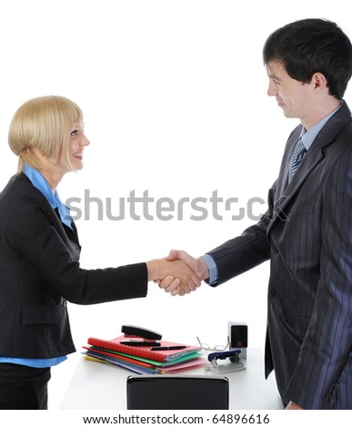 handshake happy business partners in the office. Isolated on white background - stock photo