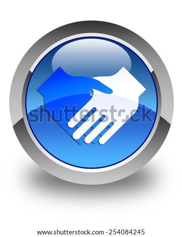 Handshake icon glossy blue round button - stock photo
