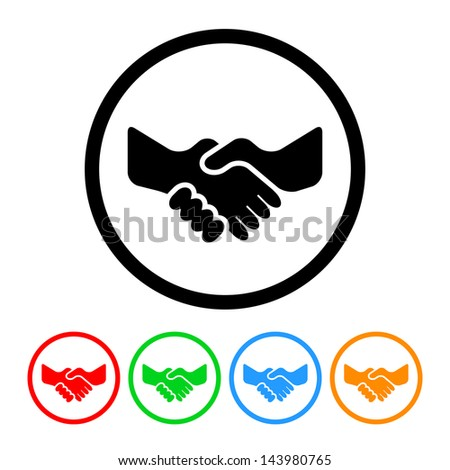 Handshake Icon with Four Color Variations - Raster Version.  Vector Also Available. - stock photo