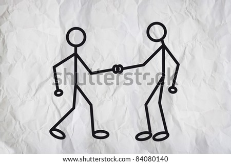 Handshake. Illustration of two humanoid figures shaking hands and greeting each other over a white paper texture background. - stock photo