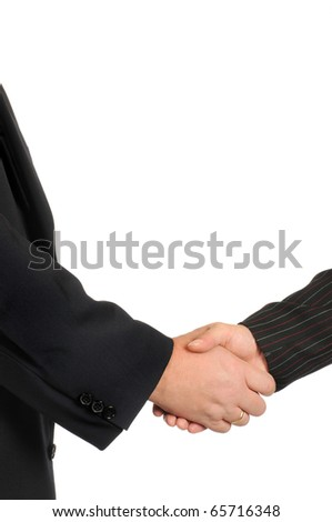 Handshake in front of a white background