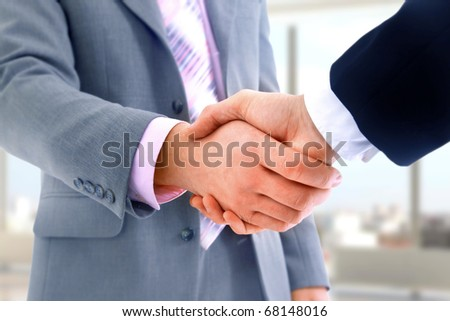 handshake in office - stock photo