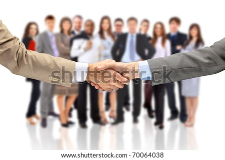 handshake isolated on business background