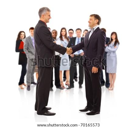 handshake isolated on business background - stock photo