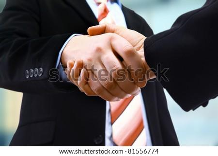 handshake isolated on light background - stock photo