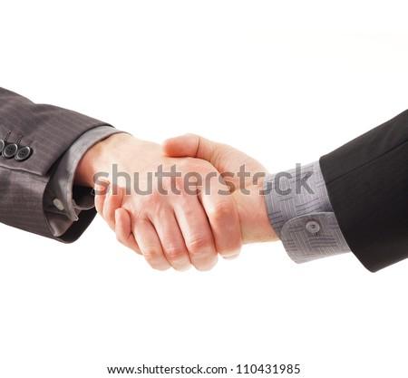 Handshake isolated on white - stock photo