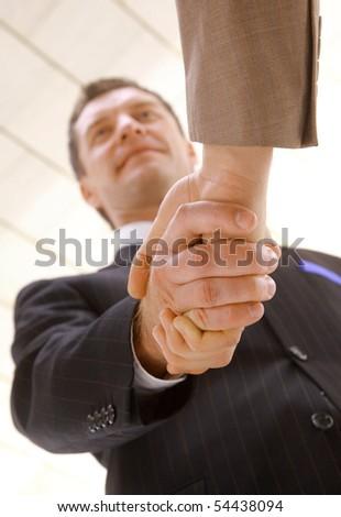 handshake isolated on white background - stock photo