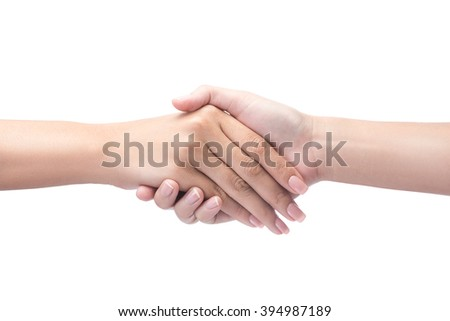 Handshake isolated on white with clipping path included