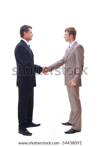 handshake isolated over white background - stock photo