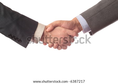 handshake isolated over white background isolated - stock photo