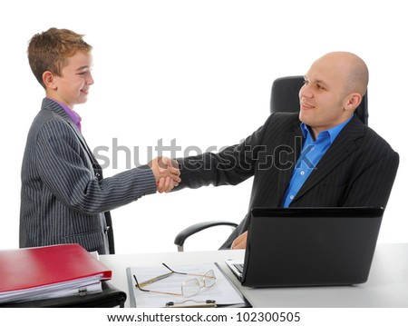Handshake man and little boy. Isolated on white background - stock photo