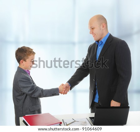 Handshake man and little boy. Isolated on white background