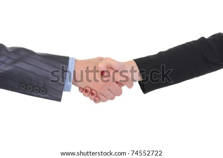 Handshake men and women. Isolated on white background - stock photo