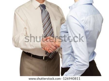 Handshake of business partners - man and woman