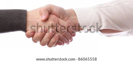 Handshake of business partners, men and women. Isolated on white background - stock photo