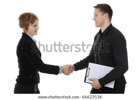 Handshake of business partners, when signing documents. Isolated on white background - stock photo