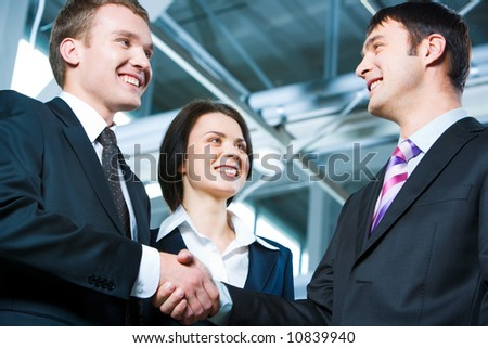 Handshake of business people struck a bargain - stock photo