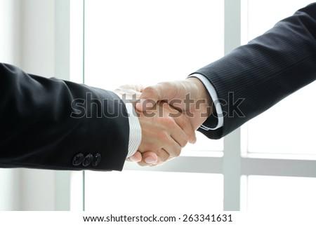 Handshake of businessmen -  greeting,dealing & partnership concepts - stock photo