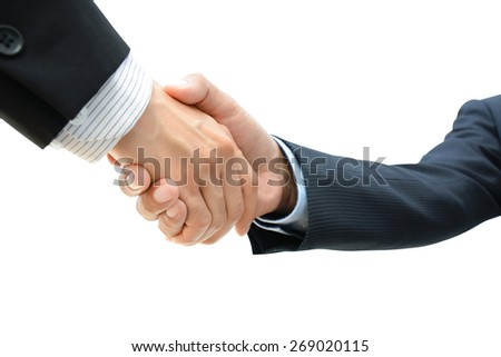 Handshake of businessmen on white background