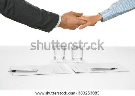 Handshake of businesspeople. Confident career choice. Contracts signed and agreements made. A new start. - stock photo