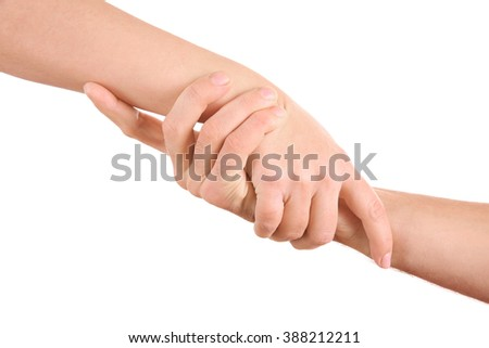 Handshake of friendship isolated on white