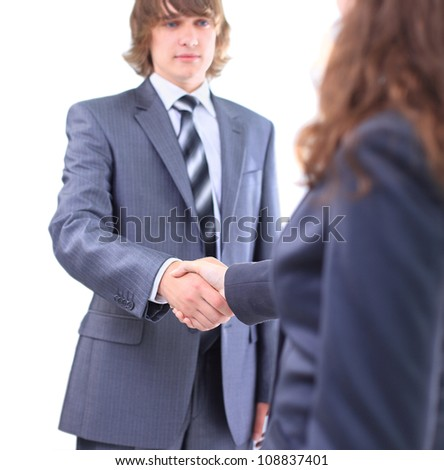 Handshake of the two businessmen, agreed in the contract. Isolated on a white background. - stock photo