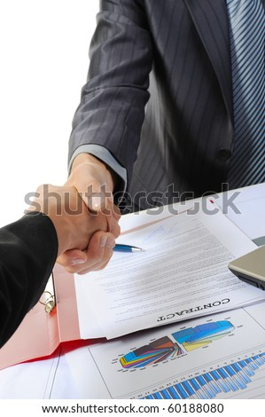 Handshake of two business partners. Isolated on white background - stock photo
