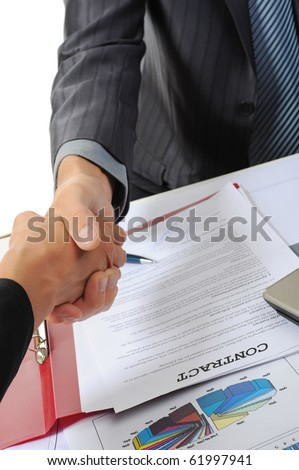 Handshake of two business partners. Isolated on white background