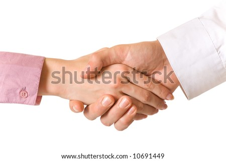 Handshake of two business people, isolated on white - stock photo
