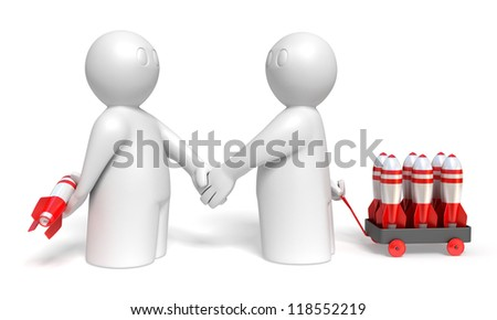 handshake of two 3d men with rocket weapons on white background, isolated