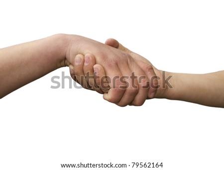 Handshake of two friendly  children - stock photo