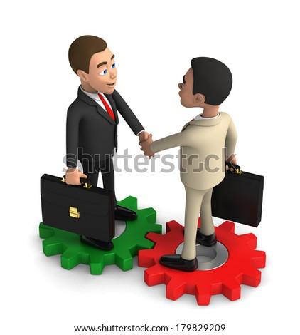 handshake of two successful businessmen - stock photo