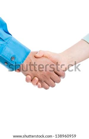 Handshake on white background - stock photo