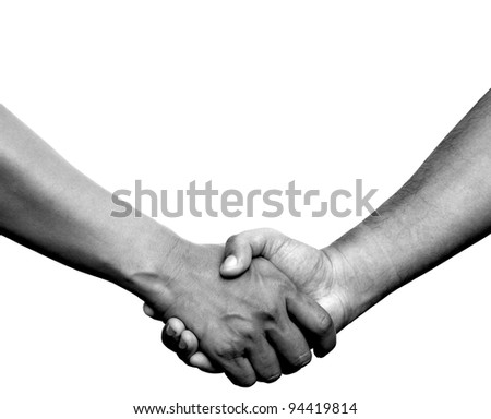 Handshake or hand in hand on white background with clipping path - stock photo