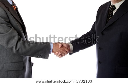 Handshake over white background - stock photo