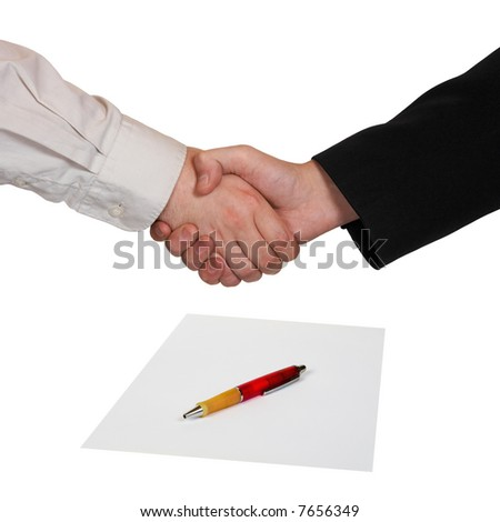 Handshake, paper and pen, isolated on white background