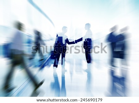 Handshake Partnership Agreement Business People Corporate City Concept - stock photo