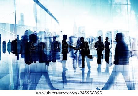 Handshake Partnership Agreement Business People Corporate City Concept - stock photo