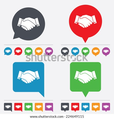Handshake sign icon. Successful business symbol. Speech bubbles information icons. 24 colored buttons.