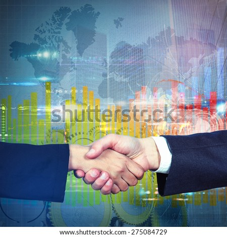 Handshake symbol of an business agreement reached - stock photo